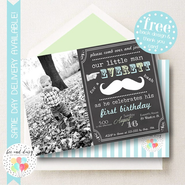 Mustache Photo Invitation For Boys Birthday Party Printable Invite Invitations First