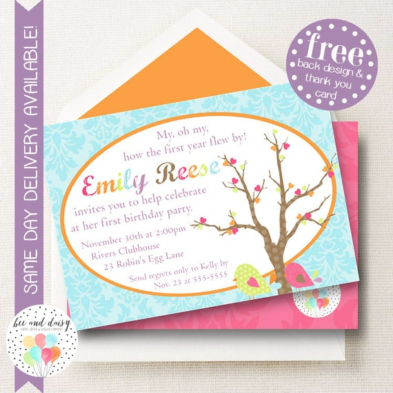 birdie invitation for girls birthday party printable party invite
