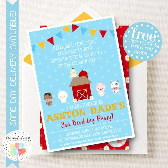 Barnyard Invitation For Girls Birthday Party Printable Farm