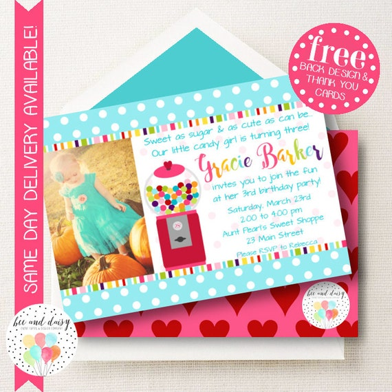 gumball invitation for girls birthday party printable party invite