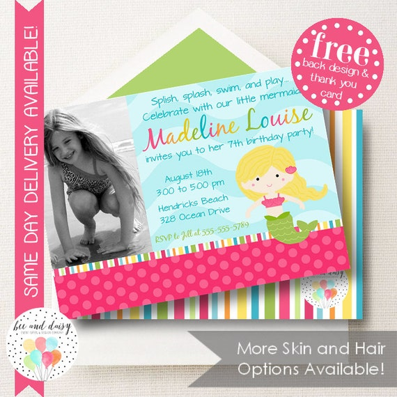Custom mermaid invitation for girls birthday party printable photo il570xn filmwisefo