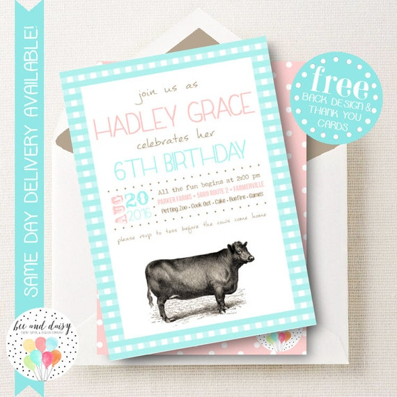 cow invitation for girls birthday party printable farm party