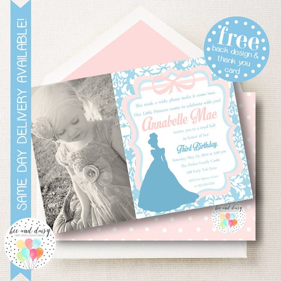 cinderella invitation for girls birthday party printable photo