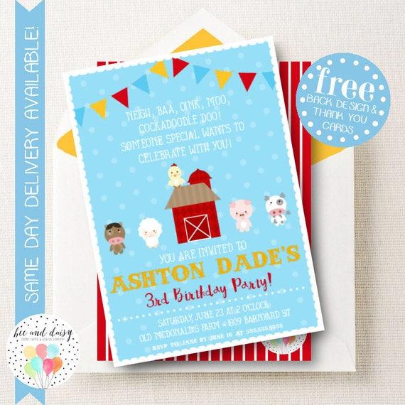 Farm Invitation For Boys Birthday Party Printable Barnyard Invite Kids First Invitations Invites BeeAndDaisy