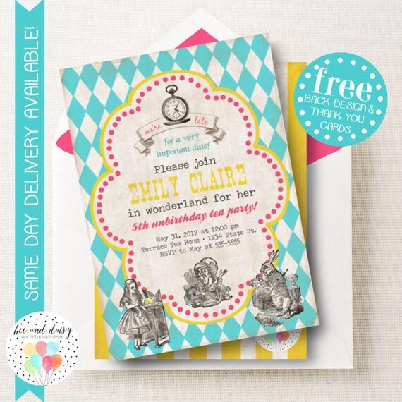 Alice In Wonderland Invitation For Girls Birthday Party Printable
