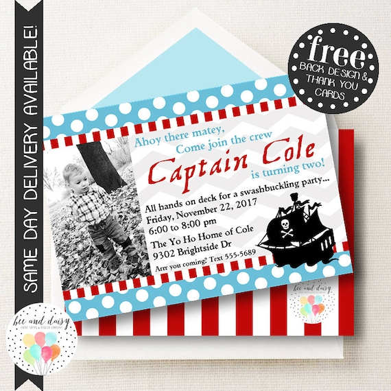 pirate invitation for boys birthday party printable photo party