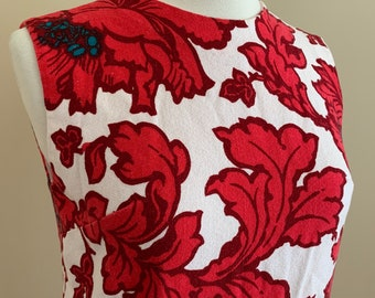 Beach Vtg 80s Tropical Hibiscus Dress Rockabilly Pinup 1980s M Vacation Dress Size 910 Dolman Medium Pockets Vintage Tiki