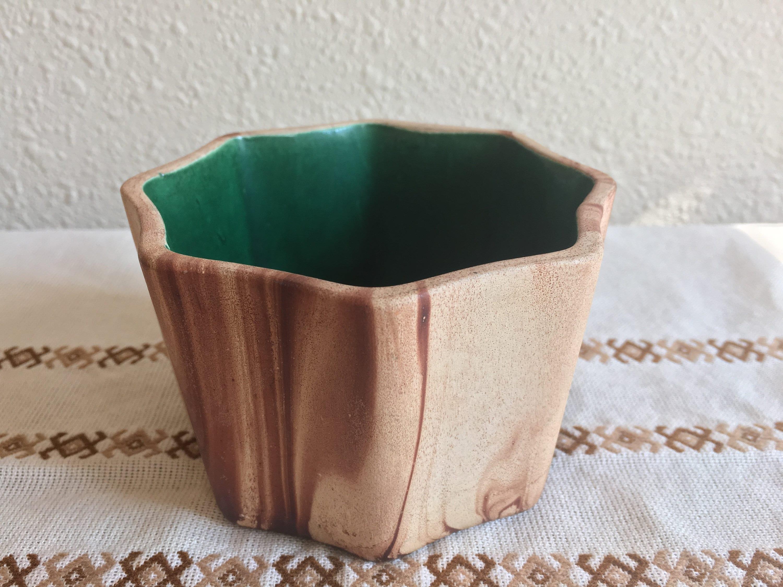 Nemadji Look Romco Swirl Browns Green Glazed Interior