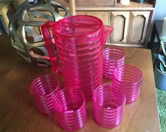 Sally Designs Beverage Drink Set Kartell Lexan Plastic Pitcher Glasses New ish