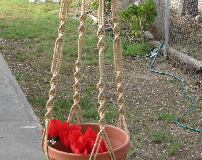 MACRAME Plant Hanger 60 inch Button Knot 6mm Sand cord with BEADS - Choose Cord Color