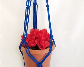 Macrame Plant Hanger 43in SIMPLE 3-ARM 6mm Royal Blue