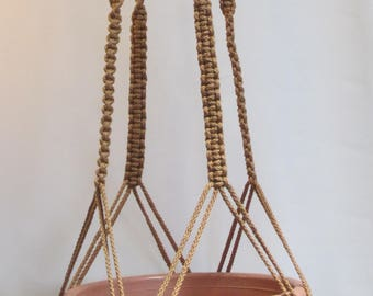 MACRAME Plant Hanger 60 in Deluxe Style with BEADS - Sand - Choose Color