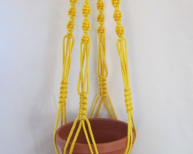 MACRAME PLANT HANGER 44 Inch Vintage Style  6mm Sunshine Yellow - Choose Color