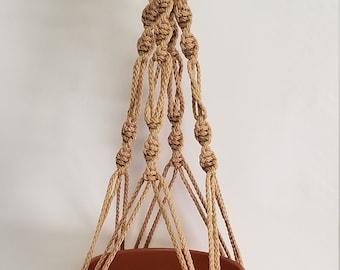 Macrame Plant Hanger Vintage Style SPIRAL 4mm, 24 inch Sand - Choose Color