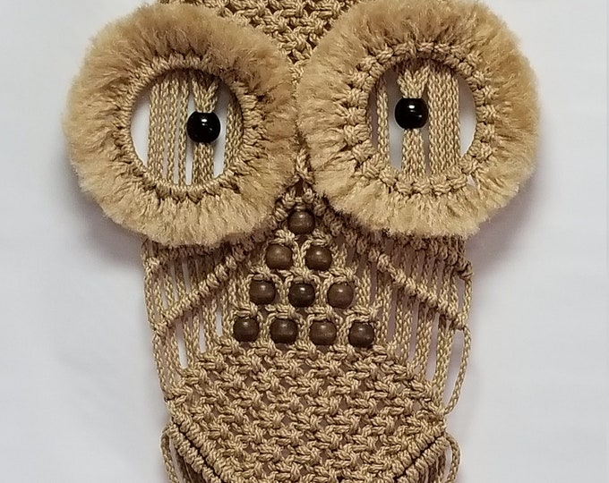 Macrame OWL Wall Hanging - 22 inch long Sand (Choose Color)