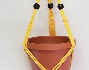 Macrame Plant Hanger 20 in FRIENDSHIP with Beads - Sunshine Yellow - Choose cord color