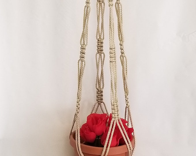 Macrame Plant Hanger 55 inch Vintage Style strong 6mm Pearl Cord with BEADS (Choose Cord Color)