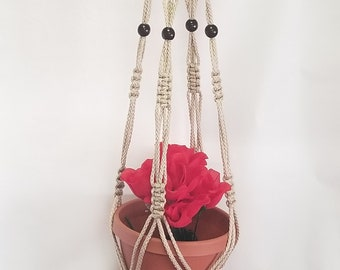 Macrame Plant Hanger 46 inch Vintage Style 6mm Pearl Cord with BEADS (Choose Cord Color)