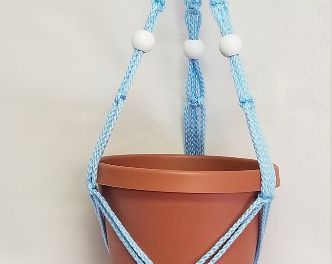 Macrame Plant Hanger 20 in FRIENDSHIP - Sky Blue Cord with White Beads - Choose Cord Color