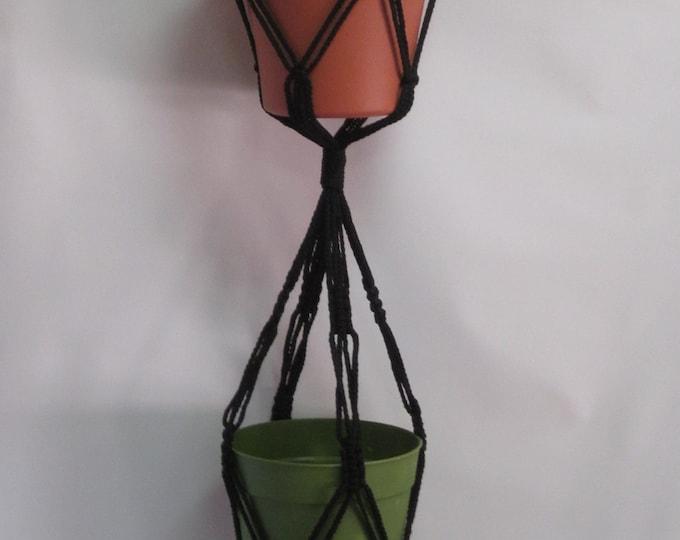 Macrame Plant Hanger 2-TIER 4mm  38in Black  (Choose Color) - Double Hanger