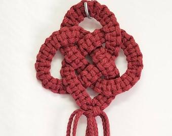 Macrame Wall hanger Triple Circle Love Knot - 16 inch long Cranberry (Choose Color)