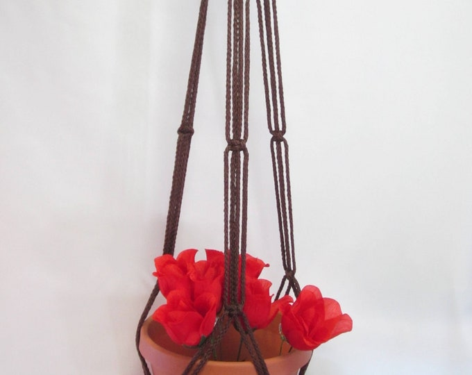 Macrame Plant Hanger 43 in SIMPLE 3-ARM 6mm With BEADS Brown Cord (Choose Cord Color)