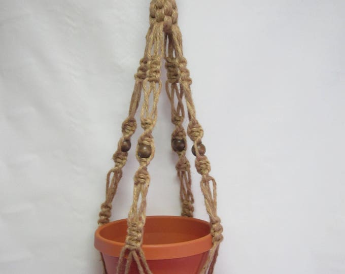 Macrame Plant Hanger 30 inch Natural Jute Vintage Crown Style With Beads