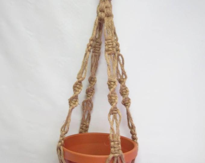 Macrame Plant Hanger Natural Jute Vintage Crown Style 30 inch