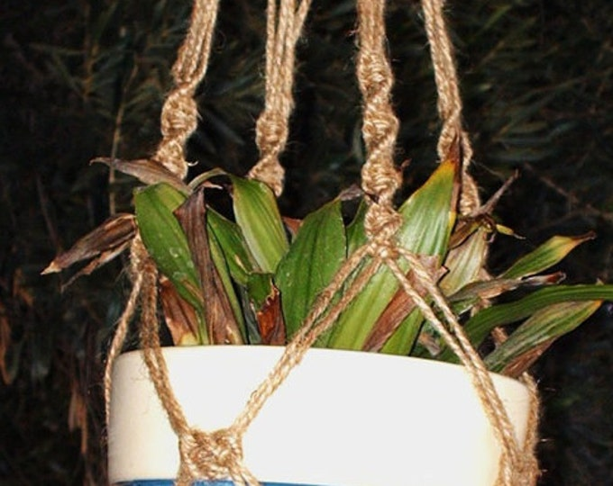 Macrame Plant Hanger 28 in Button Knot - All Natural Jute