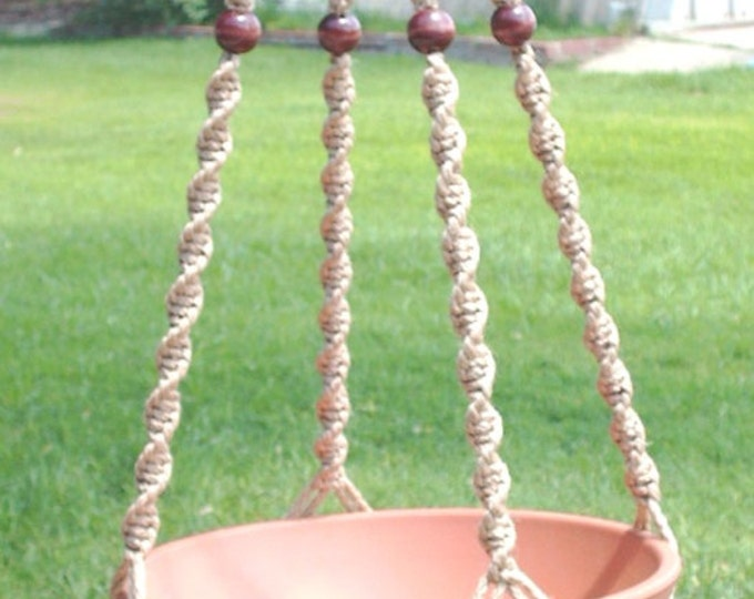 MACRAME Plant Hanger 52 in Deluxe Style with BEADS - Sand Cord (Choose Color)