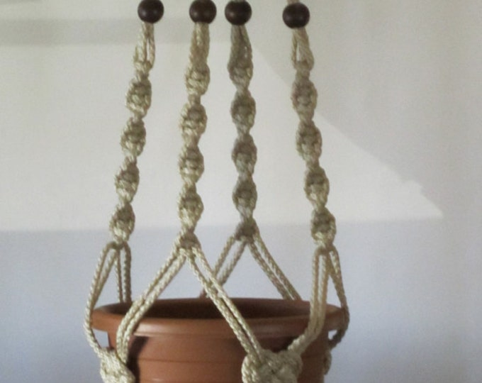 MACRAME Plant Hanger 40 inch Button Knot with BEADS - Pearl 6mm cord (Choose Cord Color)