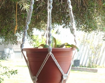 MACRAME Plant Hanger 50 inch Button Knot Style with BEADS and 6mm Pearl cord - Choose Cord Color