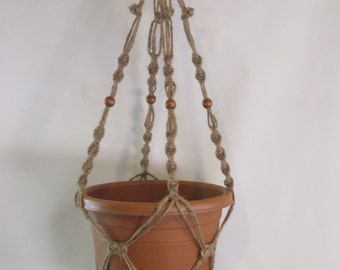 Macrame Plant Hanger 28 in BEADED Button Knot 3ply JUTE