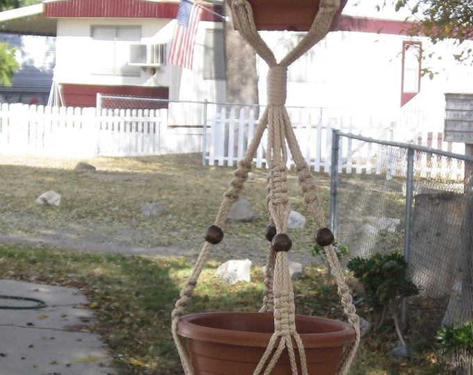 Macrame Plant Hanger 72 inch 3-TIER 6mm Pearl With BEADS  - Choose Cord Color - Triple Hanger
