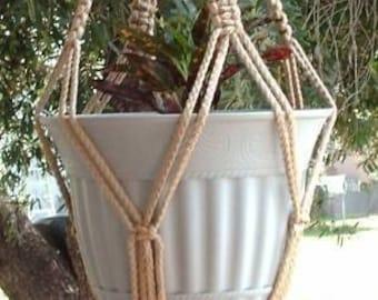 Macrame Plant Hanger 28 in Vintage Style strong 6mm  Sand  (Choose Color)
