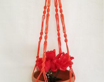 Macrame Plant Hanger 36 inch SPIRAL Style 4mm  Orange - Choose Color