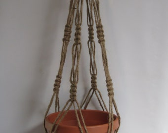 Macrame Plant Hangers Natural heavy Jute Vintage Style 34 inch