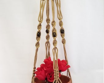 MACRAME Plant Hanger 40 Inch Vintage Style Sand 6mm with BEADS (Choose Cord Color)