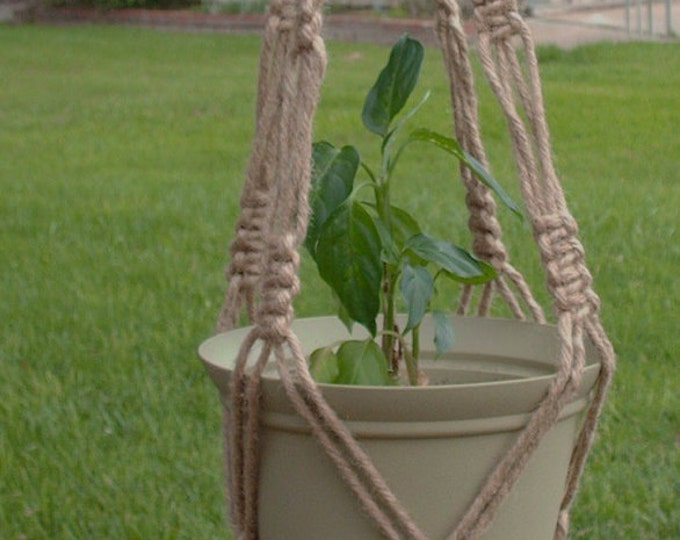 Macrame Plant Hangers 34 inch Natural heavy Jute Vintage Style with BEADS