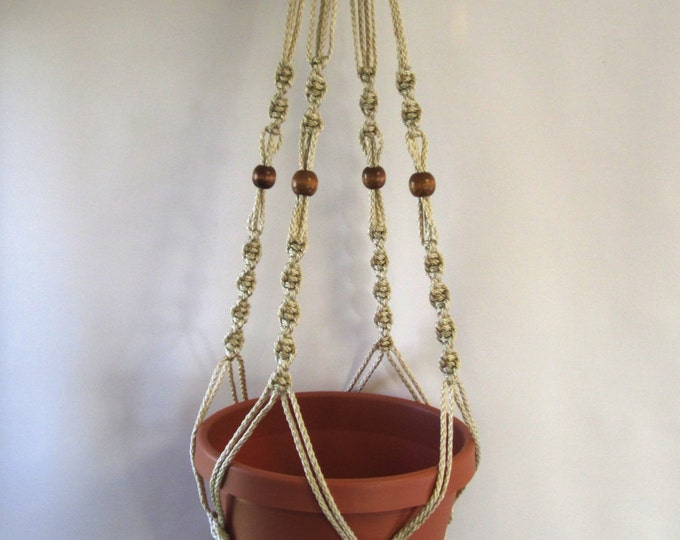 Macrame Plant Hanger 34 in Button Knot BEADS - 4mm Pearl (Choose Cord Color)