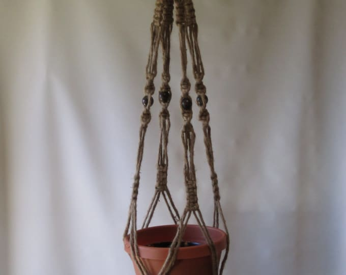 Macrame Plant Hanger 40 Inch Natural Jute Vintage Style With Beads