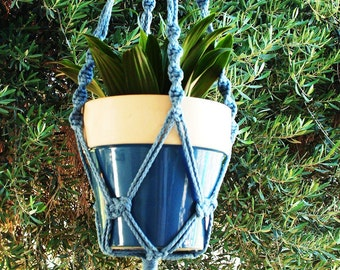 Macrame Plant Hanger 28 in Button Knot - 4mm Sky Blue - Choose Color
