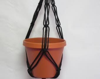 Macrame Plant Hanger 20 in FRIENDSHIP - Black