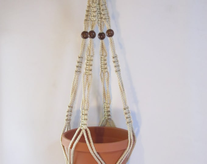 Macrame Plant Hanger 34 in Vintage Style strong 6mm Pearl Cord with BEADS (Choose Cord Color)