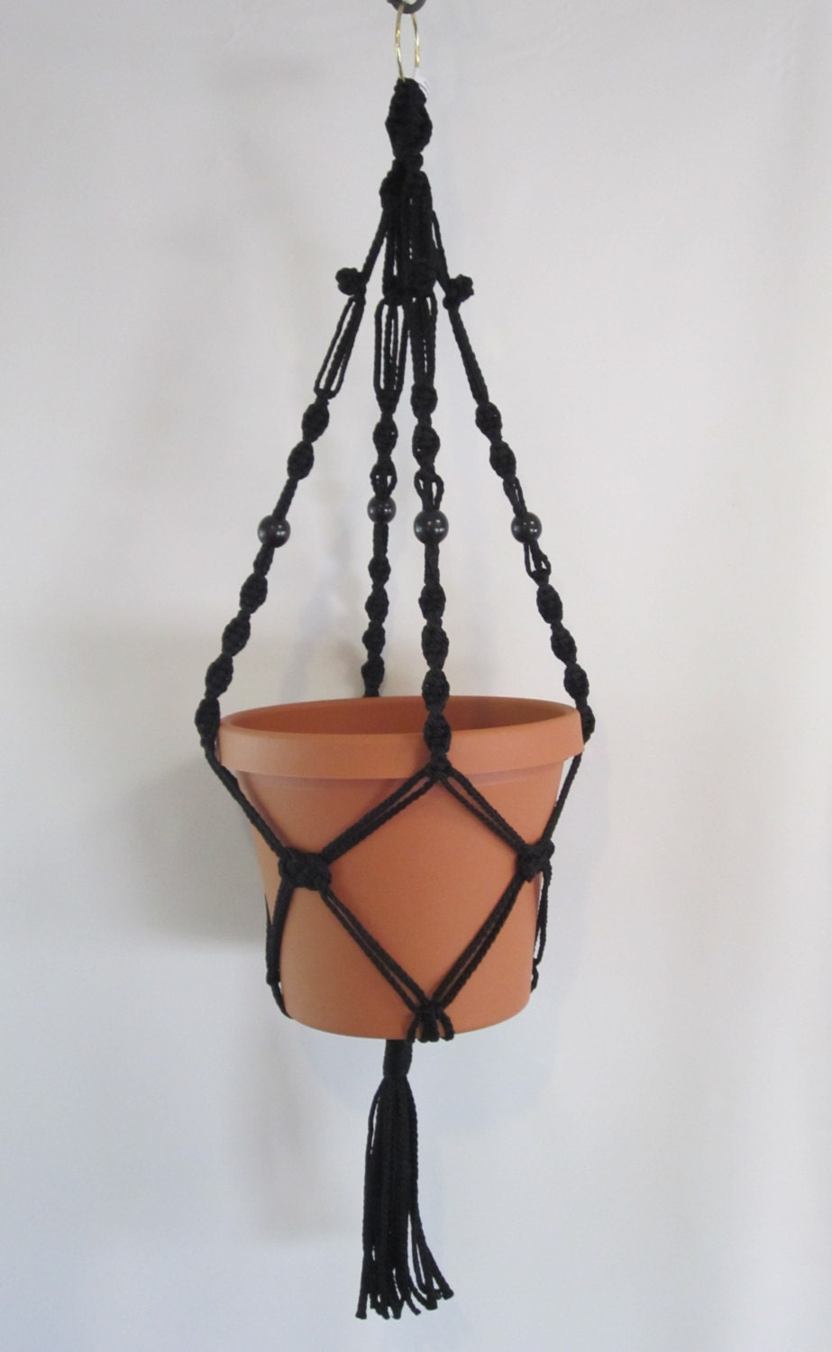 Macrame Plant Hanger 28in Button Knot beaded **GREEN**