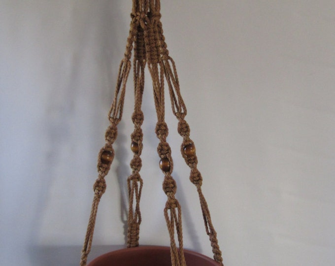"""Macrame Plant Hanger 52 inch with Beads and with a 19"""" Drop Cinnamon Cord (Choose Cord Color)"""