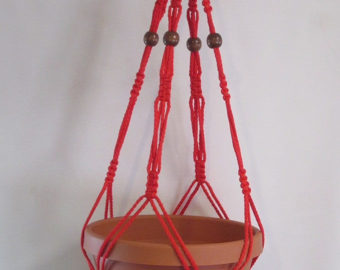 Macrame Plant Hanger Vintage Style 4mm, 30 inch Beaded - Red cord (Choose Color)