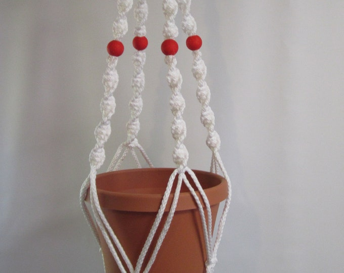 MACRAME Plant Hanger 32 in Deluxe Style with  Red BEADS - White Cord (Choose Cord Color)