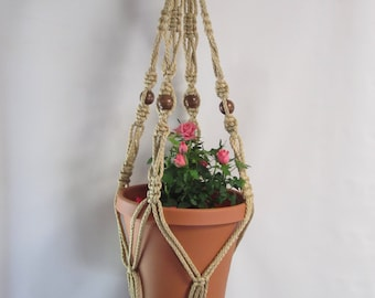 MACRAME Plant Hanger 30 inch Vintage Crown Style 6mm Sand Cord with BEADS (Choose Cord Color)