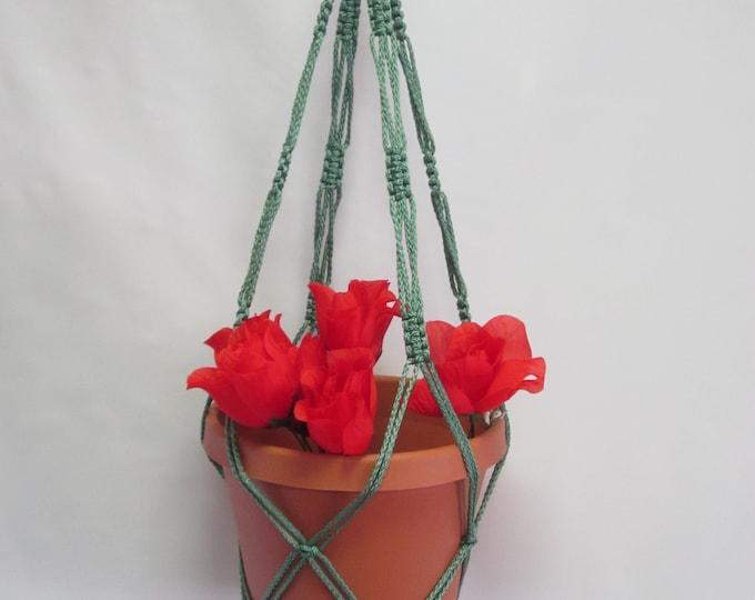 Macrame Plant Hanger 30 inch Vintage Style 4mm, Sage Green (choose color)